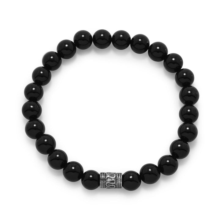 Black Onyx Bead Stackable Stretch Bracelet