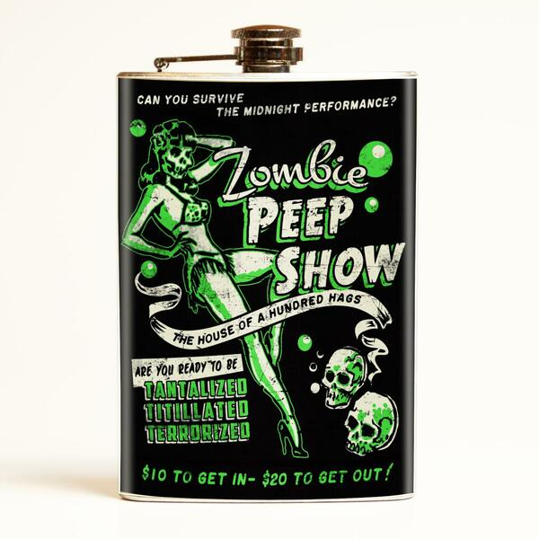 Zombie Peep Show Drinking Flask