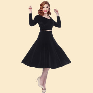 Bettie Page Black Velvet Swing Skirt