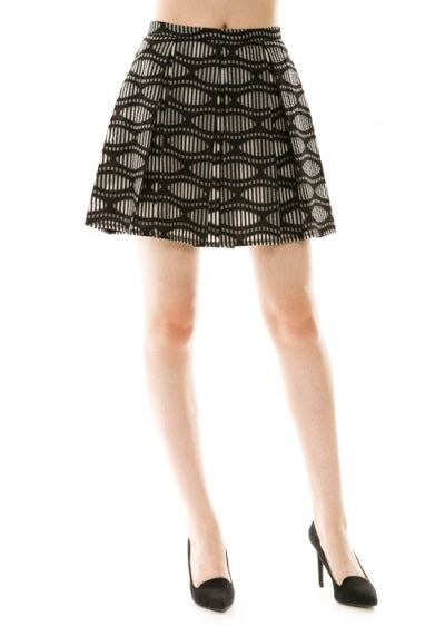 Altered Grooves Psychedelic Print Sheer Overlay Pleated Flare Mini Skirt