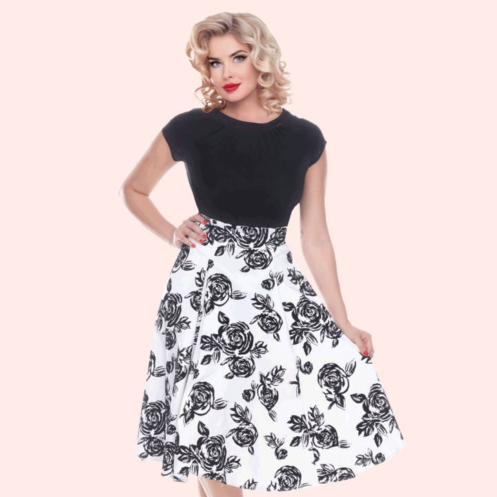 Bettie Page Annette Swing Skirt in Rose Print