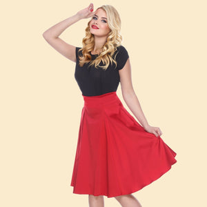 Bettie Page Red Pleated Swing Skirt
