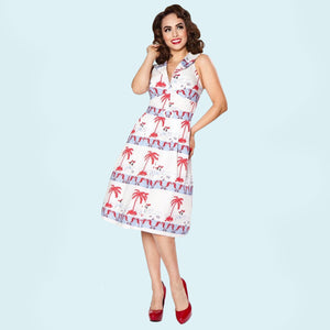 Bettie Page Beach Scene Print Butterfly Collar Belted Day Dress