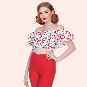 Bettie Page White Off Shoulder Ruffle Cherry Print Crop Top