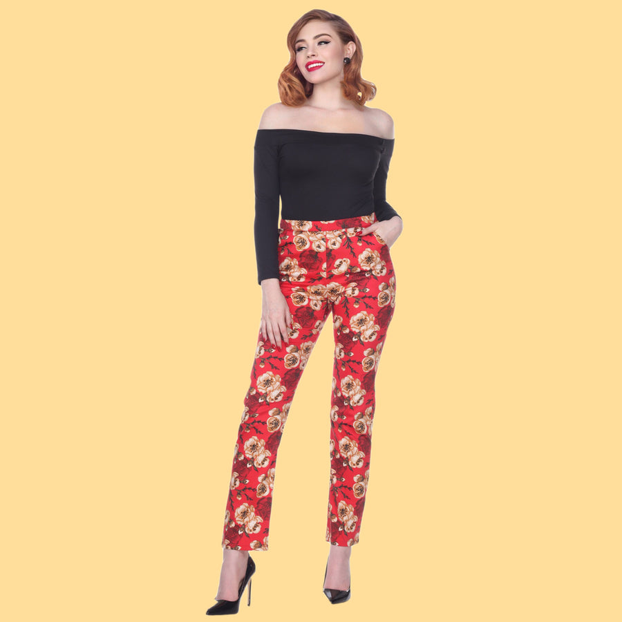 Bettie Page Red Floral Print High Waist Trouser Pants