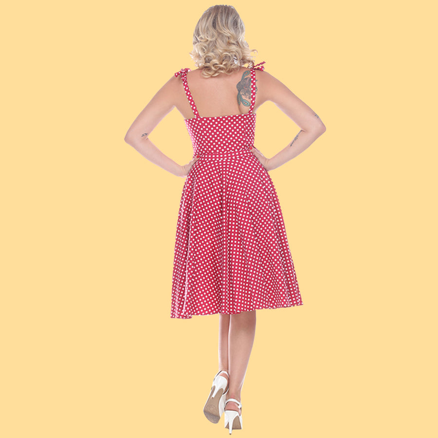 Bettie Page Albuquerque Dress in Red Dots