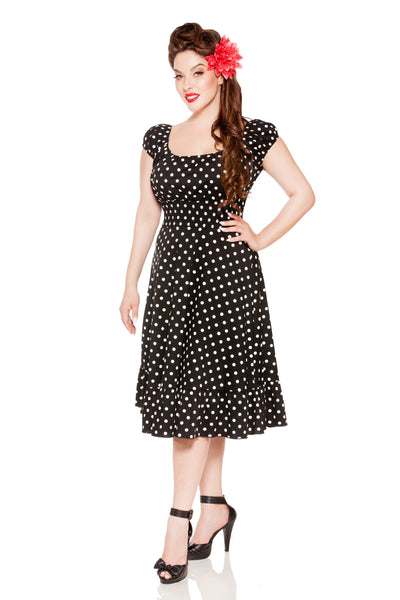 Kinny & Howie 1940's Peasant Cut Polka Dot Dress 5 Colors Sizes S-3X