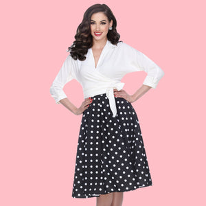 Bettie Page Black Swing Skirt with White Polka Dots