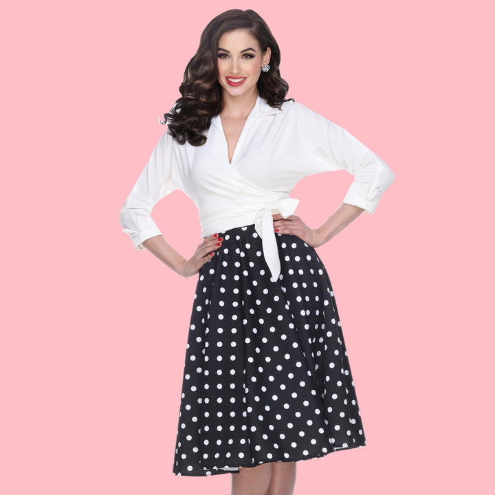 Swing Skirt in Black Polka Dot