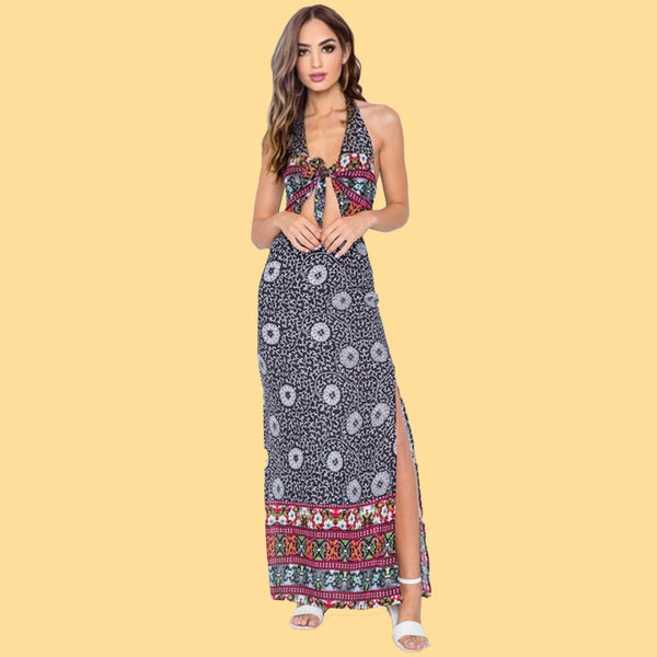Beach Whimsy Boho Cut Out Maxi Dress