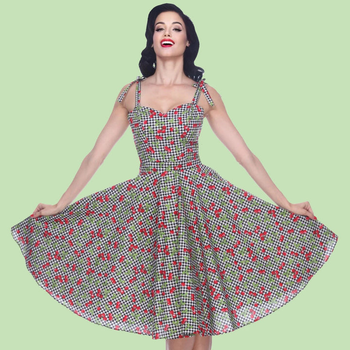 Bettie Page Albuquerque Dress in Cherry Gingham