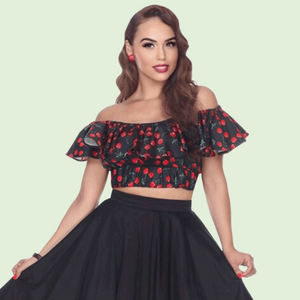 Bettie Page Bella Ruffle Crop Top in Cherry Print