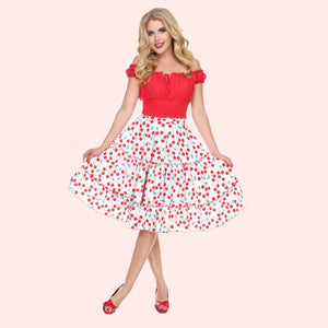 Bettie Page White 3 Tier Ruffle Swing Skirt in Cherry Print