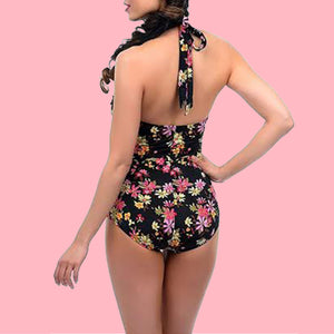 Esther Williams Vintage Style Black Floral Halter One Piece Swimsuit