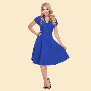 Bettie Page Royal Blue Collared Fit and Flare Dress with Back Cut Out