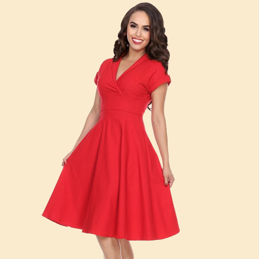Bettie Page Red Collared Fit and Flare Dress with Back Cut Out