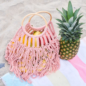 Crochet Fringe Wooden Handle Tote Bag in Pink