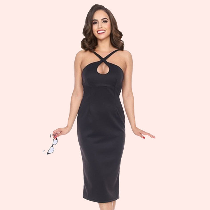 Bettie Page Black Cross Strap Wiggle Dress