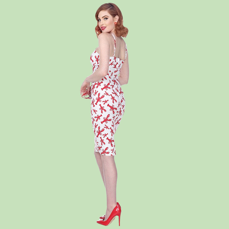 Bettie Page White Lobster Print Cross Strap Wiggle Dress
