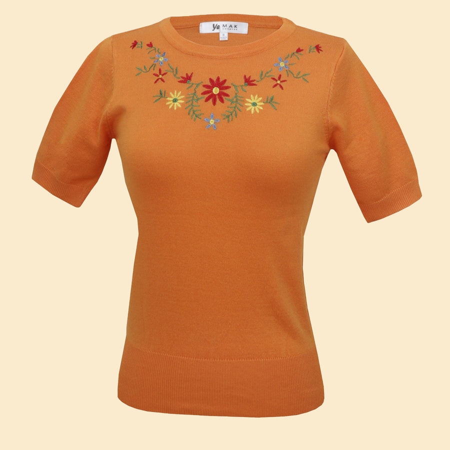 Kinny & Howie Pumpkin Orange Floral Emboidered Pullover Fitted Short Sleeve Sweater