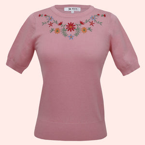 Kinny & Howie Pink Floral Emboidered Pullover Fitted Short Sleeve Sweater