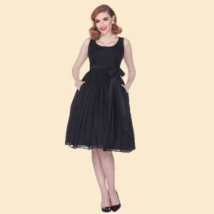 Bettie Page Esther Lace Overlay Swing Dress
