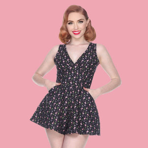 Bettie Page Black & Pink Flamingo Print Sweetheart Bodice Flared Skort Romper