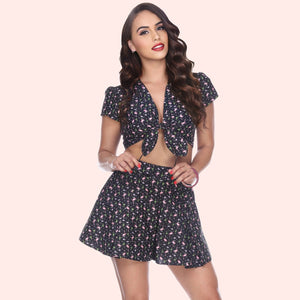 Bettie Page Flamingo Print High Waist Flared Skort Shorts