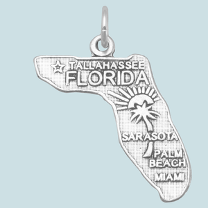 Oxidized Sterling Silver State & Travel Charms