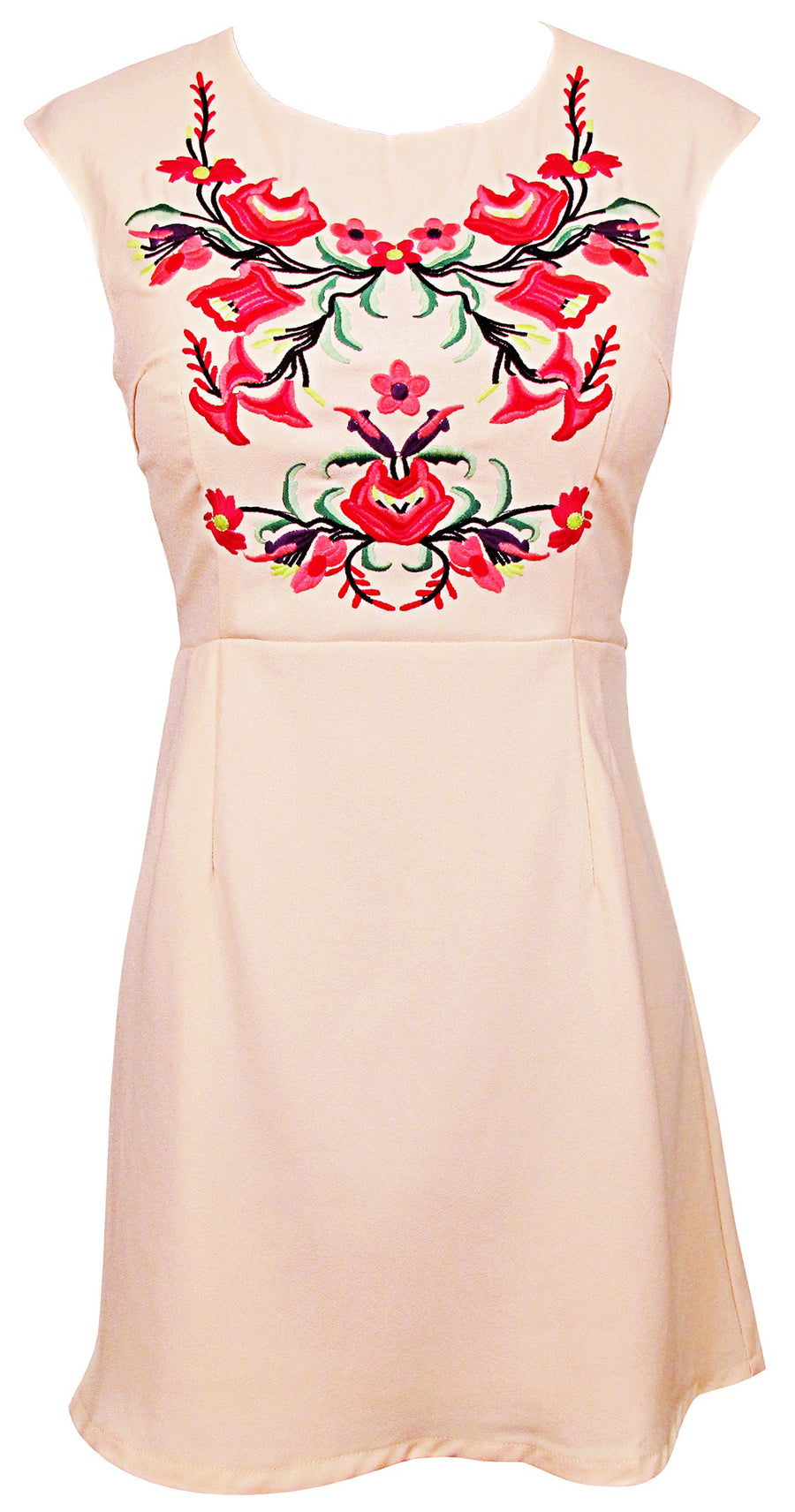 Kinny & Howie Ivory Floral Embroidered Bodice Mini Shift Dress