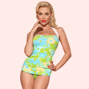 Deena Flower Power Ruched Halter One Piece