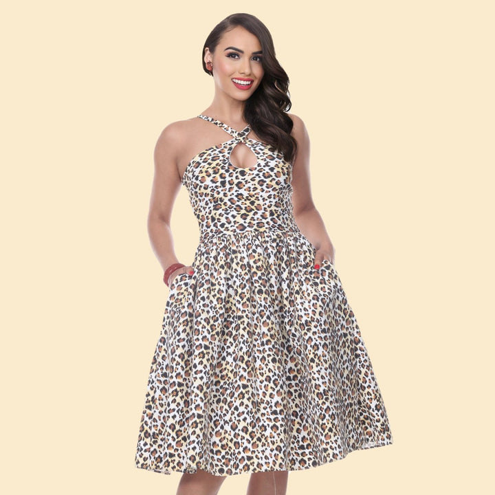 Bettie Page Frida Dress in Leopard Print