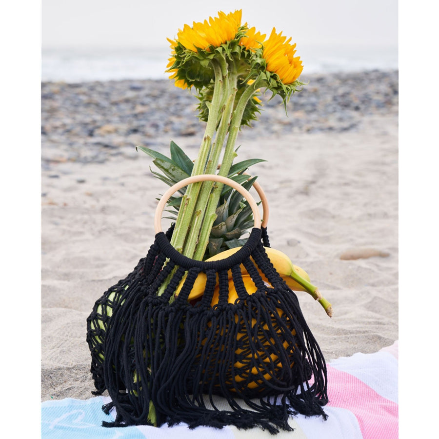 Crochet Fringe Wooden Handle Tote Bag (Black or Ivory)
