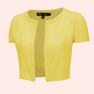 Kinny & Howie Cropped Length Short Sleeve Cardigan in Yellow