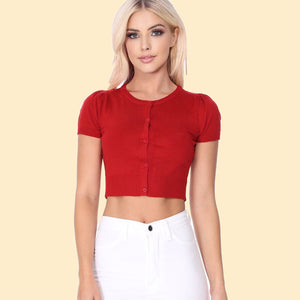 Kinny & Howie Cropped Length Short Sleeve Cardigan in Red
