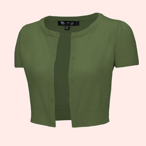 Kinny & Howie Cropped Length Short Sleeve Cardigan in Sage Green