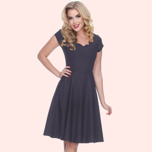 Bettie Page Short Sleeve Scallop Neck Dress in Charcoal