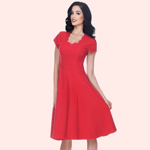 Glenda Scalloped Neck Swing Dress in Red