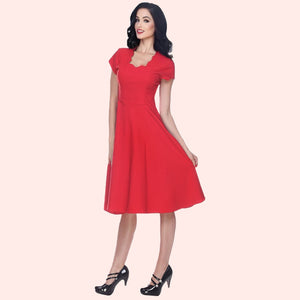 Bettie Page Short Sleeve Scallop Neck Dress in Red