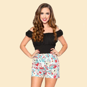 Bettie Page Tiki Tropical Print High Waist Honey Shorts