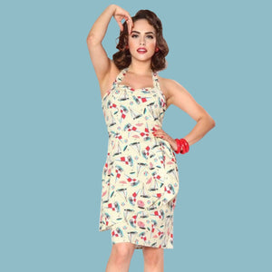 Bettie Page Sailboat Print Wrap Sarong Dress