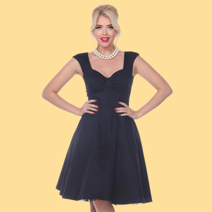 Bettie Page Black Sweetheart Swing Midi Dress