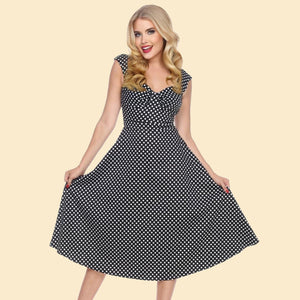 Bettie Page Black and White Polka Dot Sweetheart Swing Midi Dress
