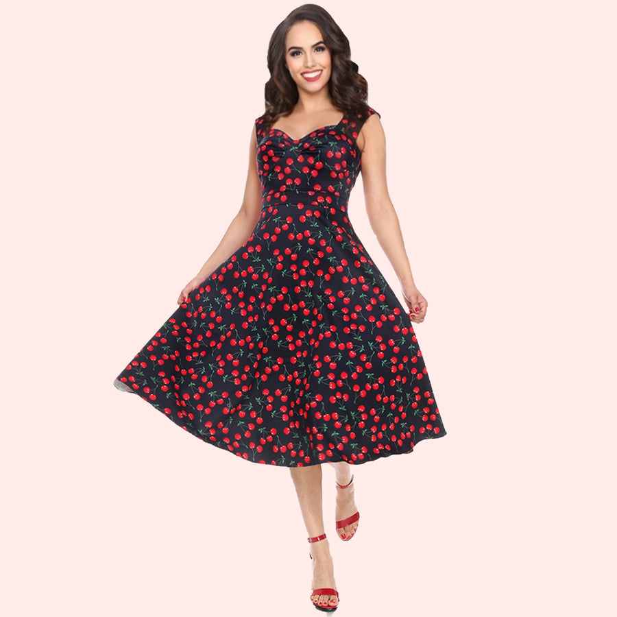 Bettie on Holiday Dress in Black Cherries