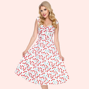 Bettie on Holiday Dress in White Cherries