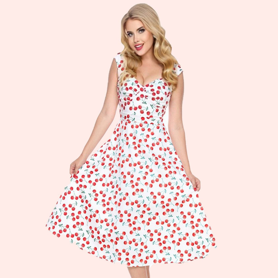 Bettie Page White Cherry Print Swing Dress