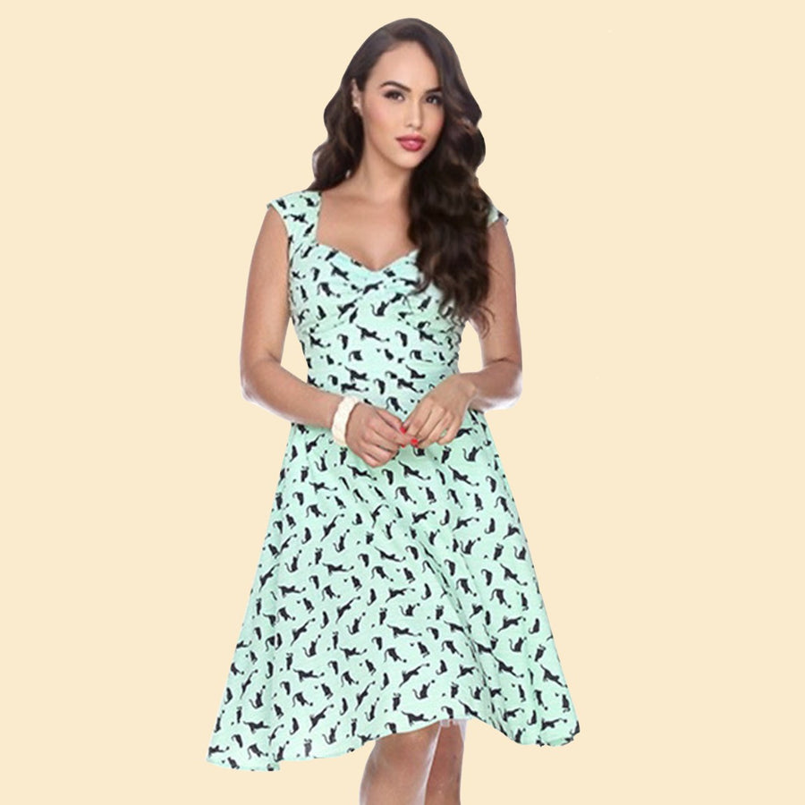 Bettie on Holiday Dress in Kitty Print