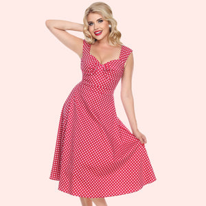 Bettie Page Red and White  Polka Dot Sweetheart Swing Midi Dress