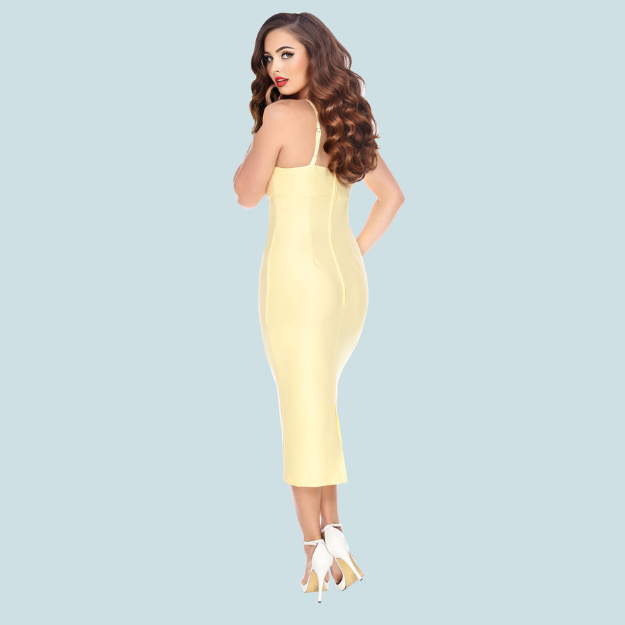 Bettie Page Yellow Cross Strap Wiggle Dress