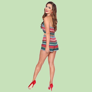Bettie Page Mexican Serape Print Halter Tank Crop Top